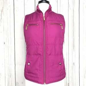 Chicos Zip Up Sleeveless Quilted Vest Pink Size 1